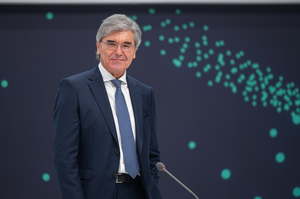 Joe Kaeser, President and CEO of Siemens AG, in front of the stage as the virtual Annual Shareholders' Meeting of Siemens AG begins on February 3, 2021. After the event, he will transfer leadership to Roland Busch.