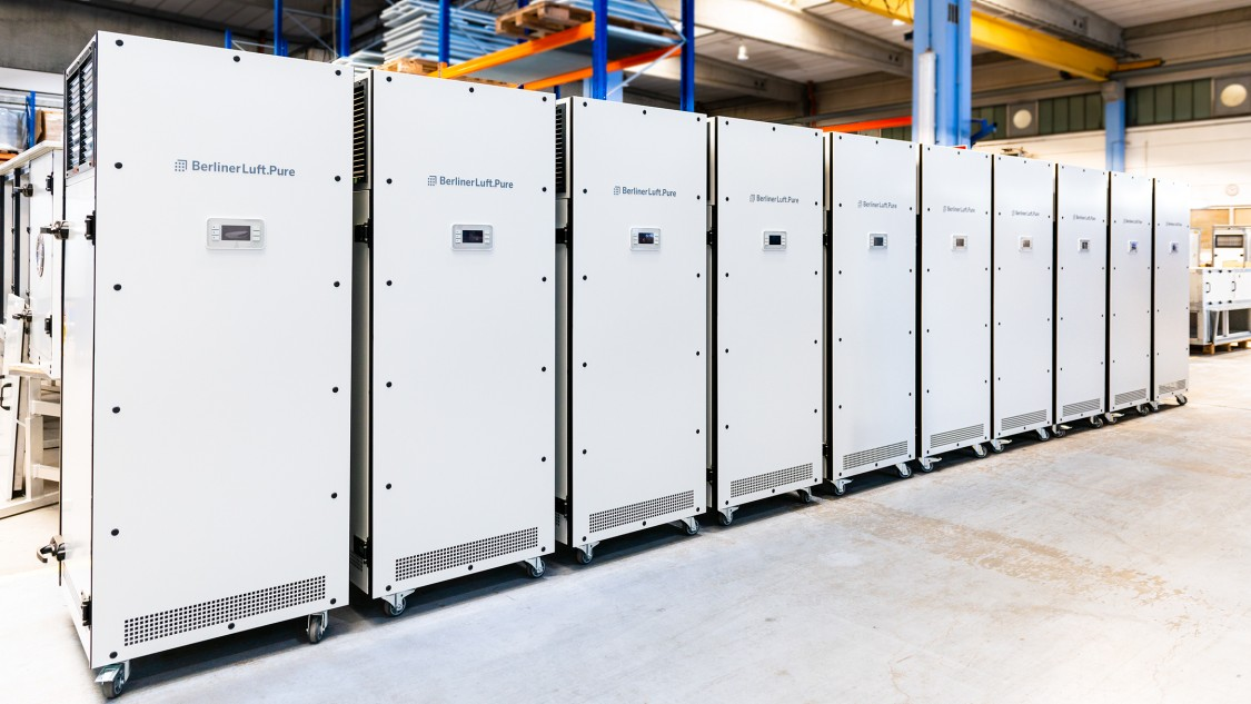 Air sterilizers in a storage room.
