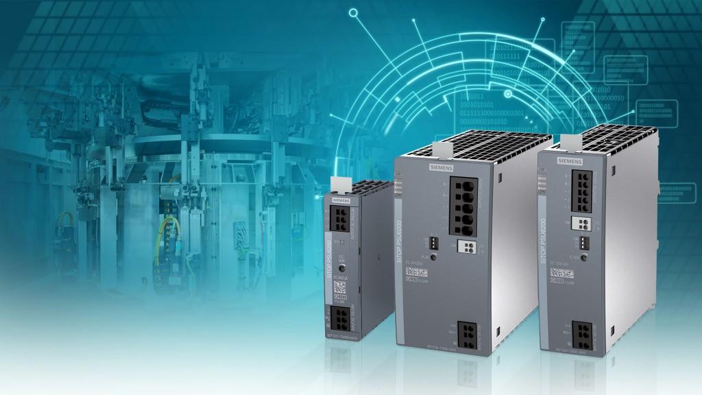 Das Bild zeigt die neue Produktlinie besonders leistungsstarker und robuster Stromversorgungen Sitop PSU6200.