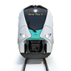 Front view of the hydrogen train Mireo Plus H in front of white background