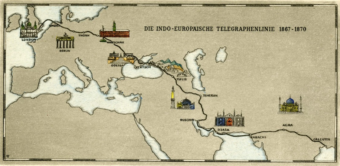 A milestone in laying cable – The route of the Indo-European telegraph line, 1870s