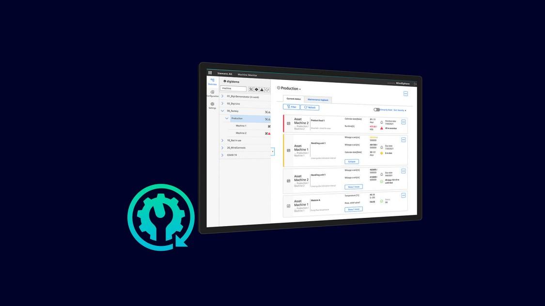 Beispiel einer Benutzeroberfläche der App Machine Monitor auf einem Tablet, im Hintergrund eine Automatisierungsanlage