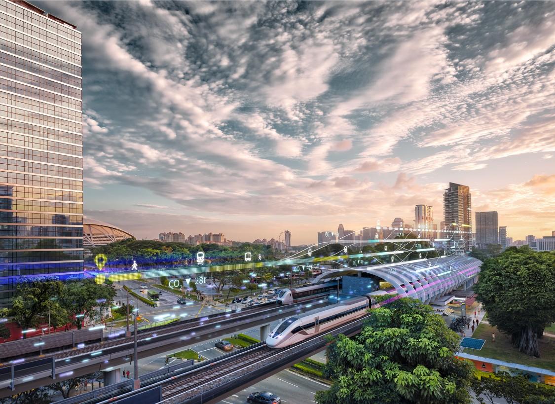 keyvisual von Siemens Mobility - Zug verlässt den Bahnhof einer futuristischen Stadt
