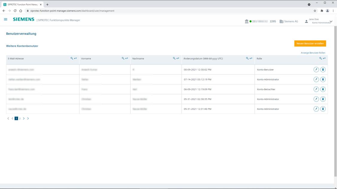 SIPROTEC Funktionspunkte-Manager - Benutzerverwaltung