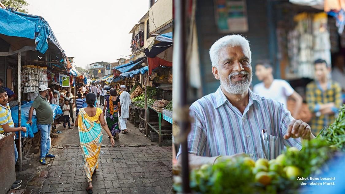 Ashok Rane besucht den lokalen Markt