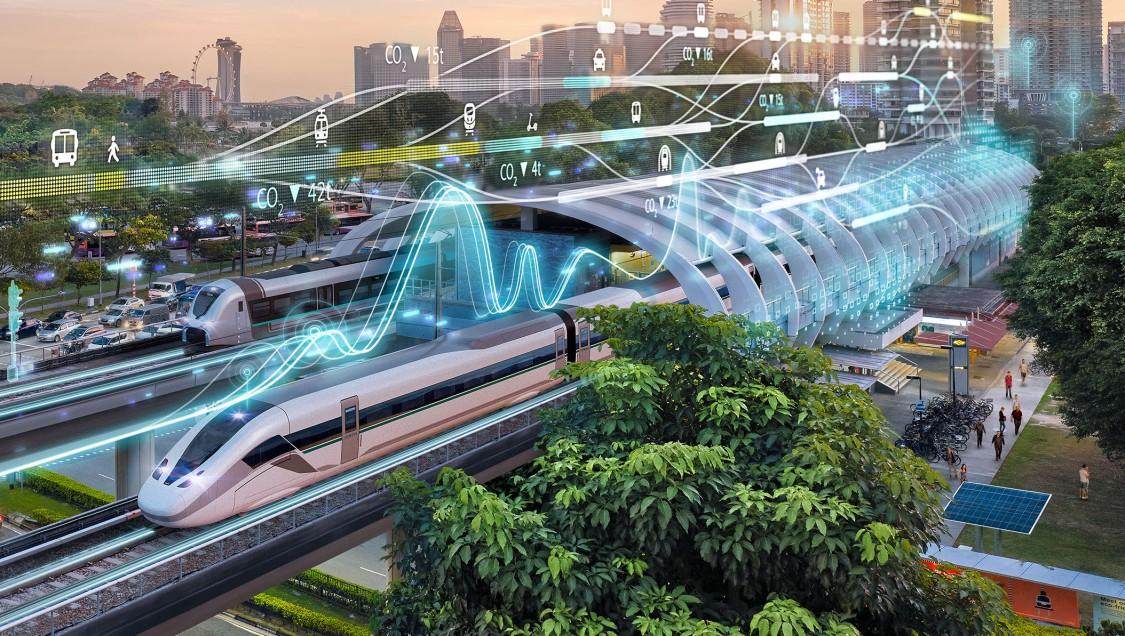 Ein moderner Bahnhof in einer modernen, grünen Stadt mit digitalen Grafikelementen aus der Außenperspektive