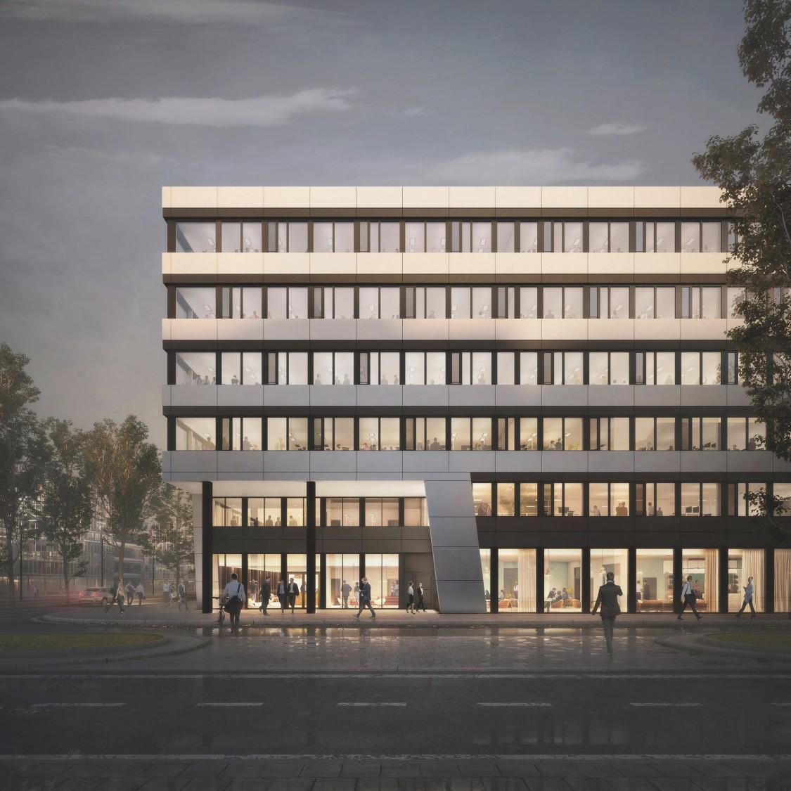 The Move Rendering Bürogebäude in der Abenddämmerung