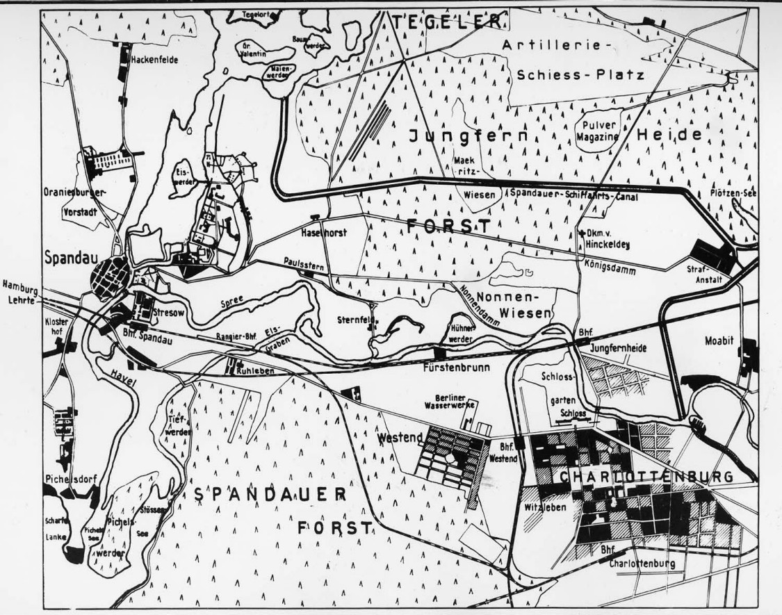 Virgin terrain between Spandau in the west and Charlottenburg in the southeast –Nonnenwiesen, about 1890