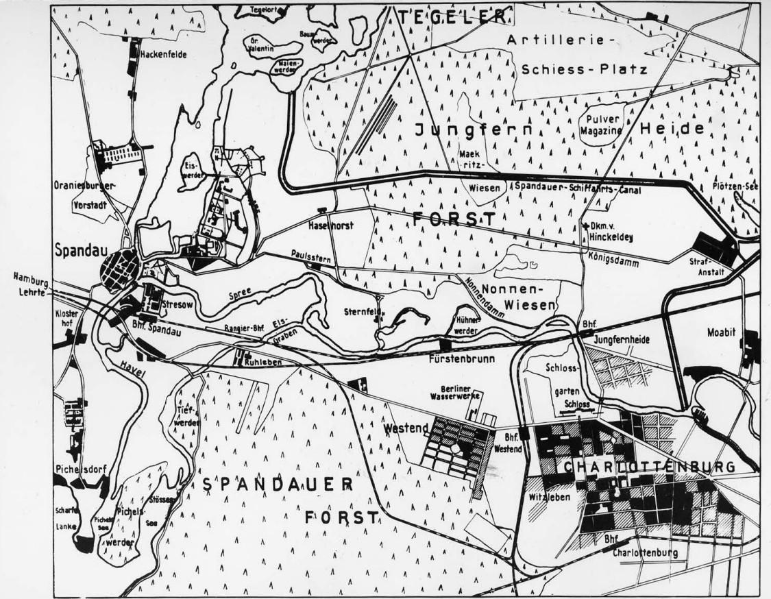 Unerschlossenes Terrain zwischen Spandau im Westen und Charlottenburg im Südosten: die Nonnenwiesen, ca. 1890