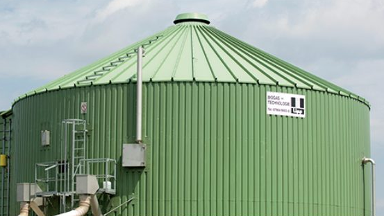 Green silo of a biogas plant.