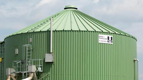 Grünes Silo einer Biogasanlage.