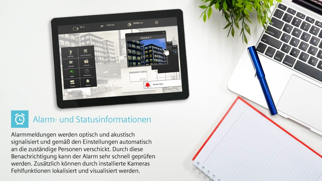alarm and status information tablet