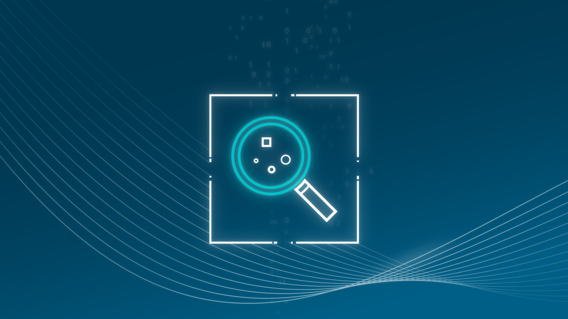 This icon of a magnifying glass represents how one can identify network vulnerabilities with RUGGEDCOM cybersecurity solutions for critical infrastructure networks.