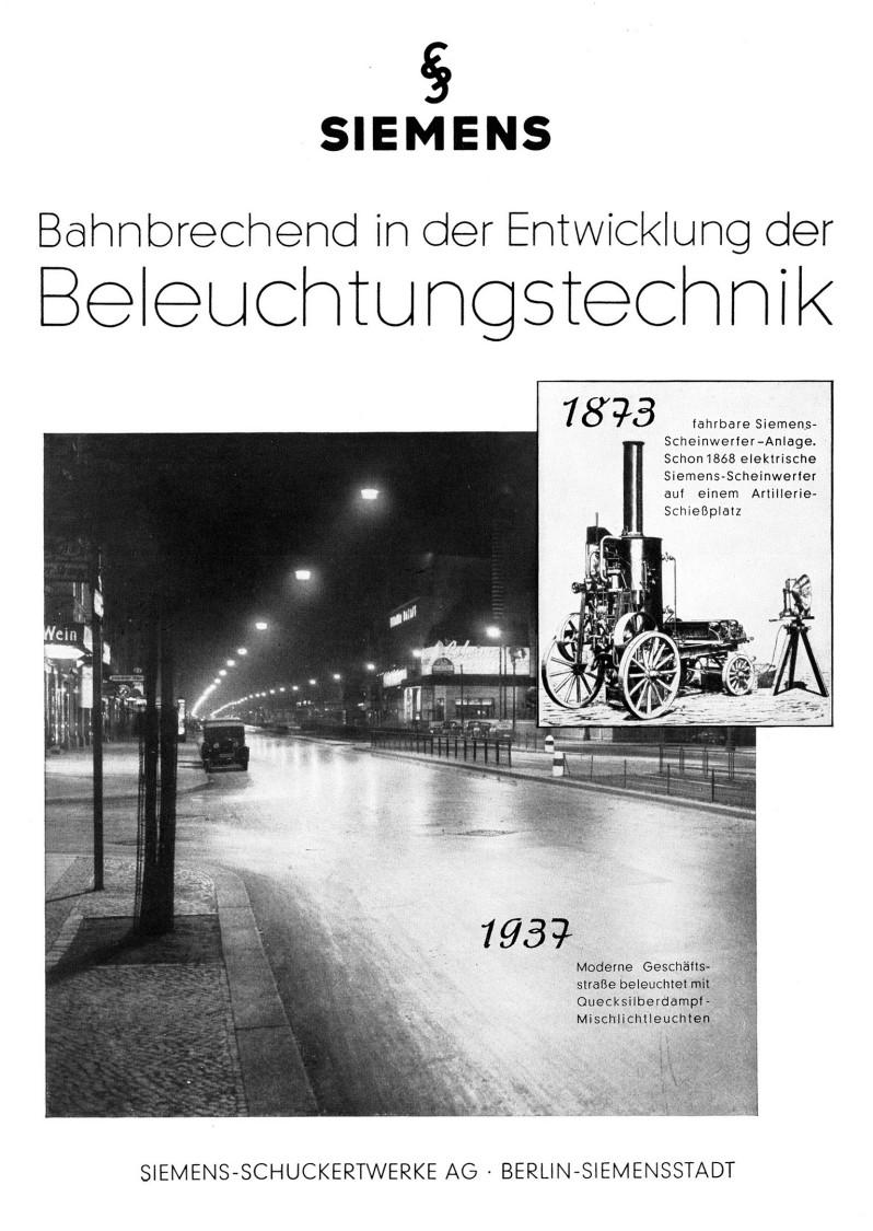 Werbeanzeige für elektrische Beleuchtung, 1937