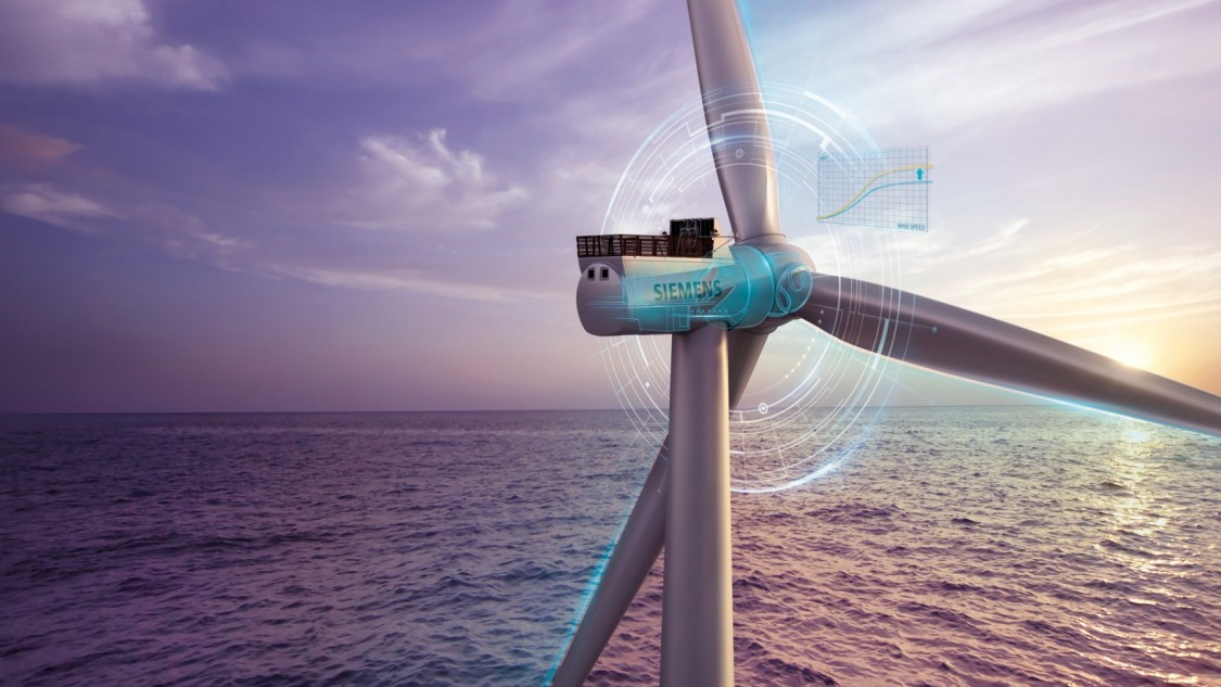 Offshore turbine with virtual layer in front of a sunset