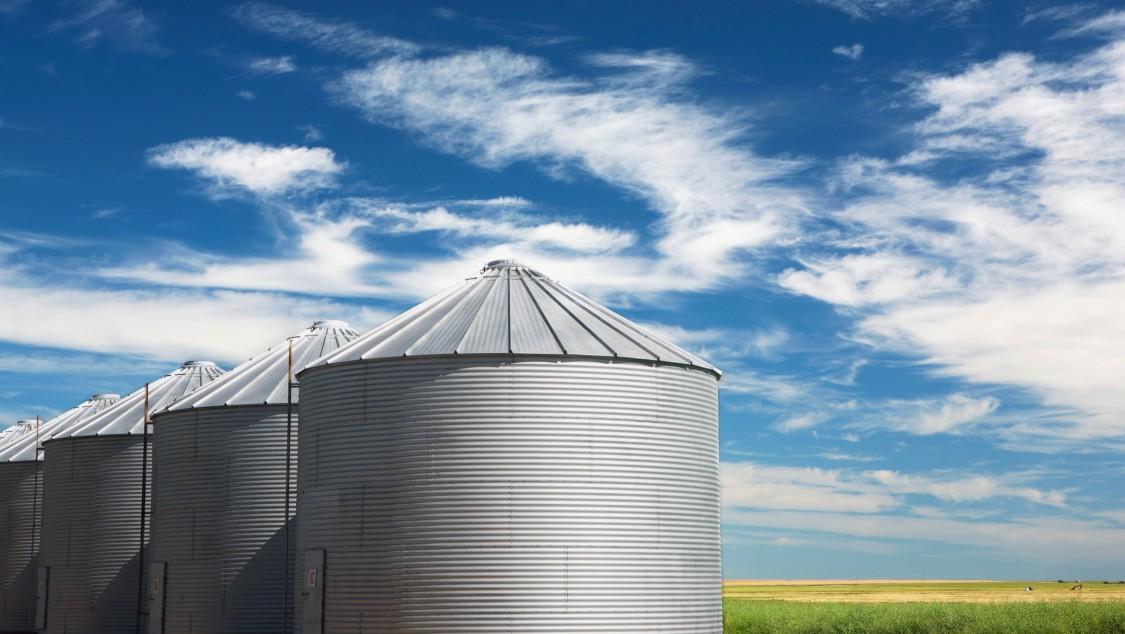 Drei Silos einer Biogasanlage.