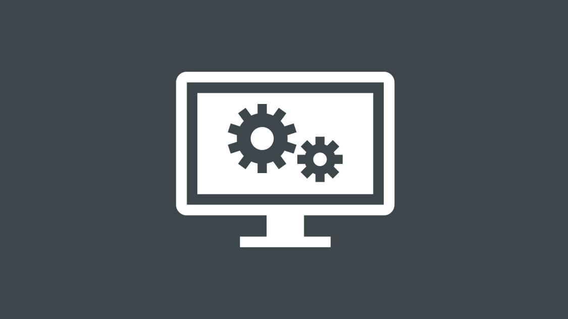 Icon zur Konfiguration von SINEC INS: zwei ineinandergreifende Zahnräder umrahmt von einem Computer-Bildschirm.
