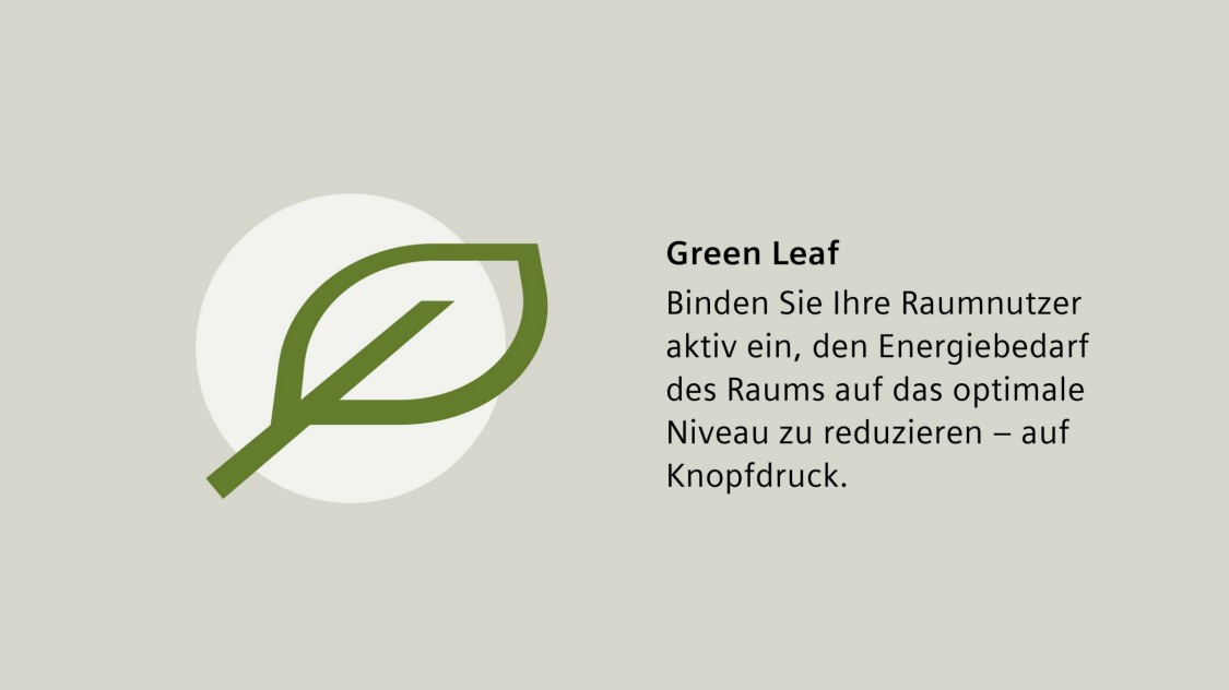 Desigo Room Automation, Raumapplikationen, Green Leaf, Raumnutzer, Energieverbrauch des Raums