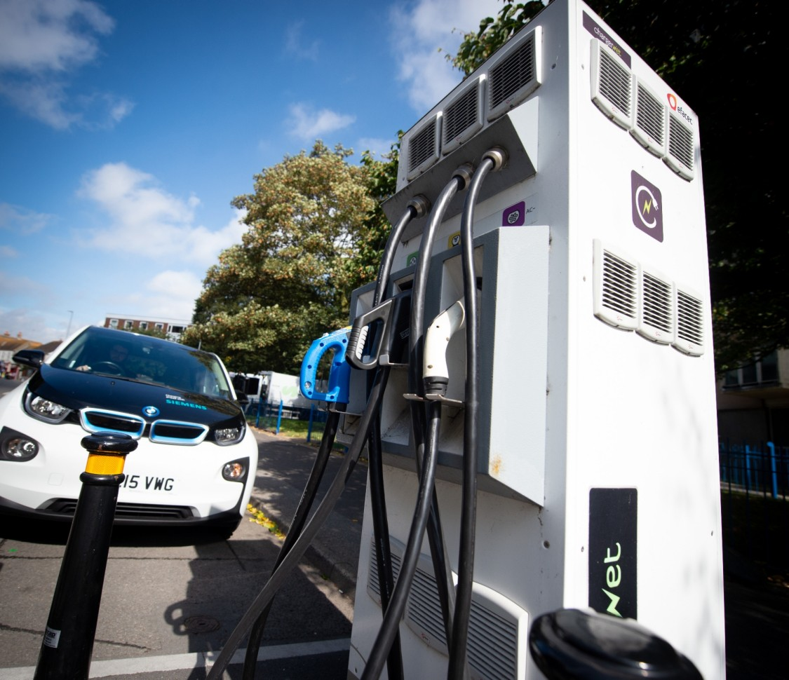 Siemens Rapid Electric Vehicle charger on street