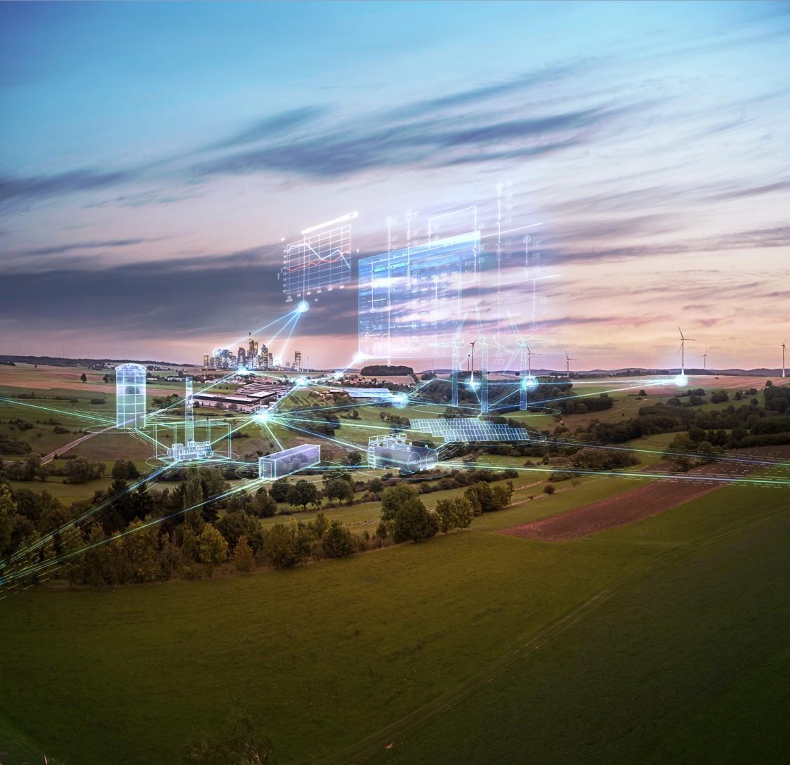 campo com filtros em azul representando a tecnologia das redes inteligentes dos serviços siemens