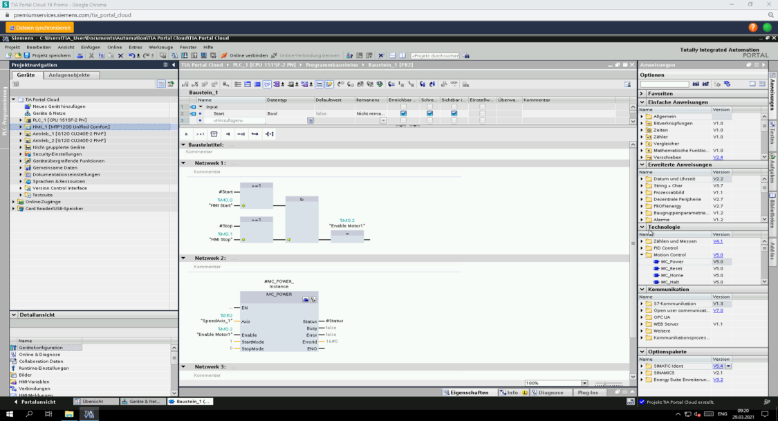 Engineering mit dem Web-Browser und TIA Portal Cloud