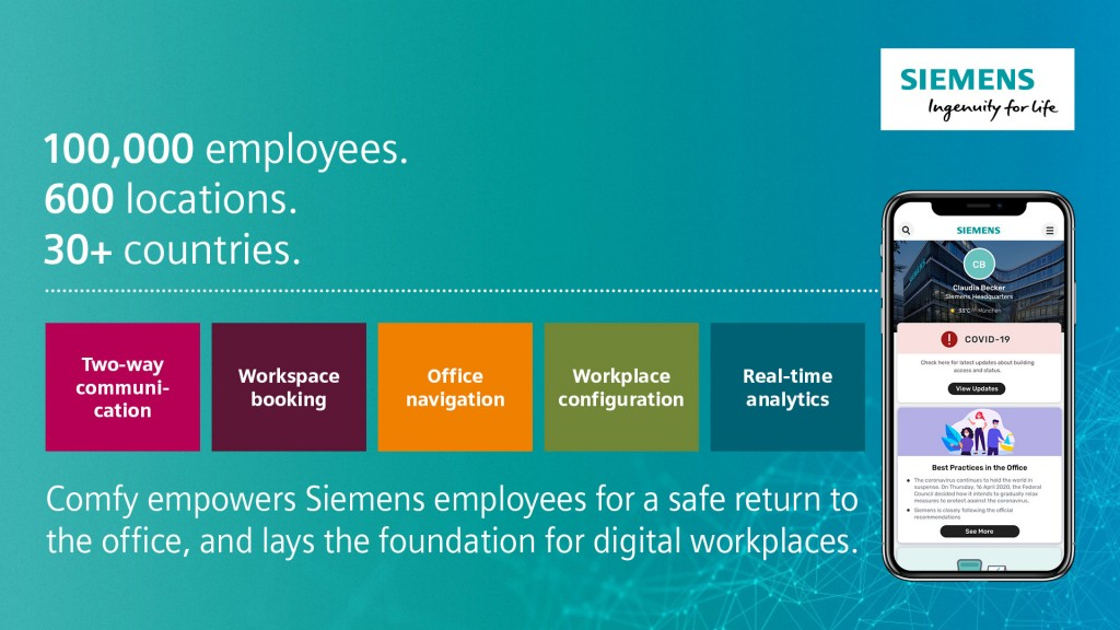 Siemens to equip 600 locations with its workplace experience app Comfy
