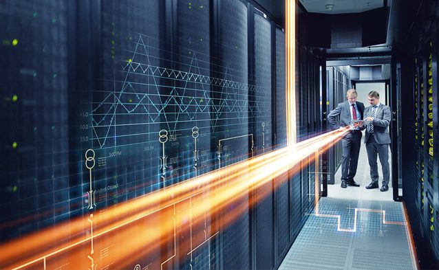 Professionals in a data center