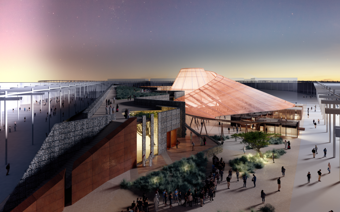 A visualization of the Opportunity Pavilion at Expo 2020 in Dubai.