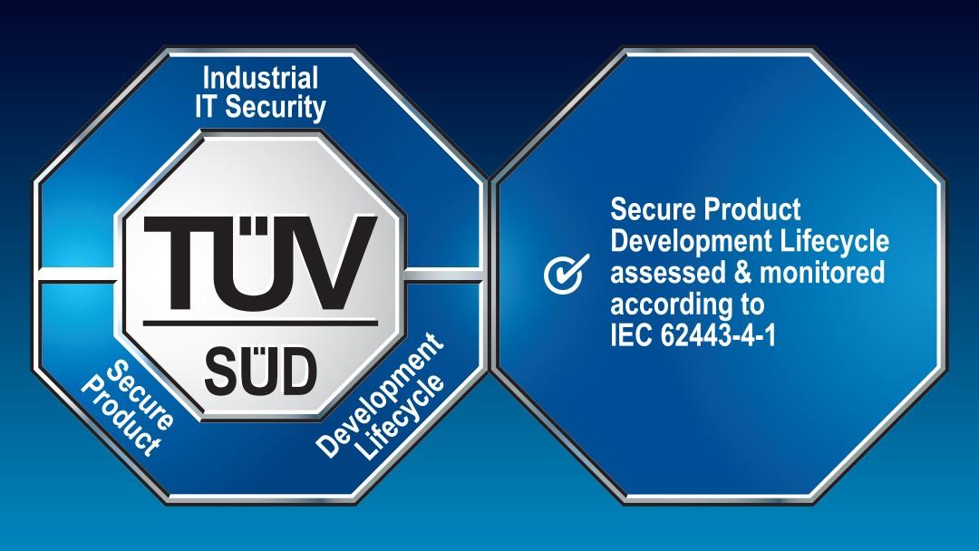 Prüfzeichen: IT-Sicherheit vom TÜV SÜD zertifiziert gemäß IEC 62443-4-1