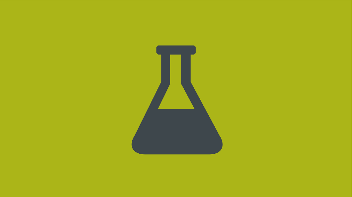 Icon of a stylized half-filled test tube on green background
