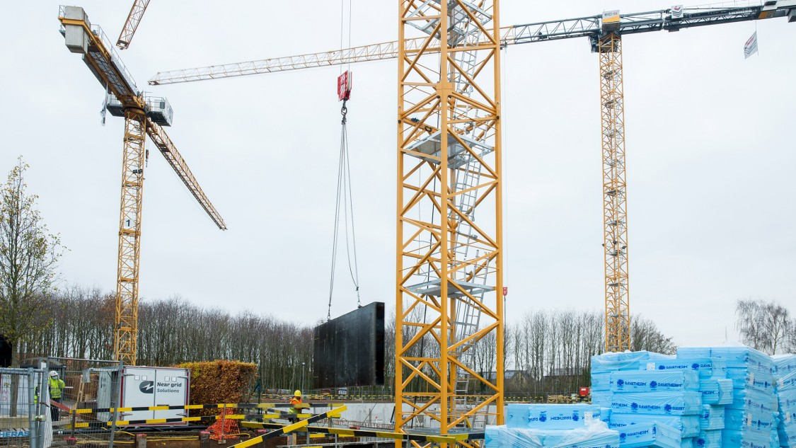 Tower cranes at a construction site
