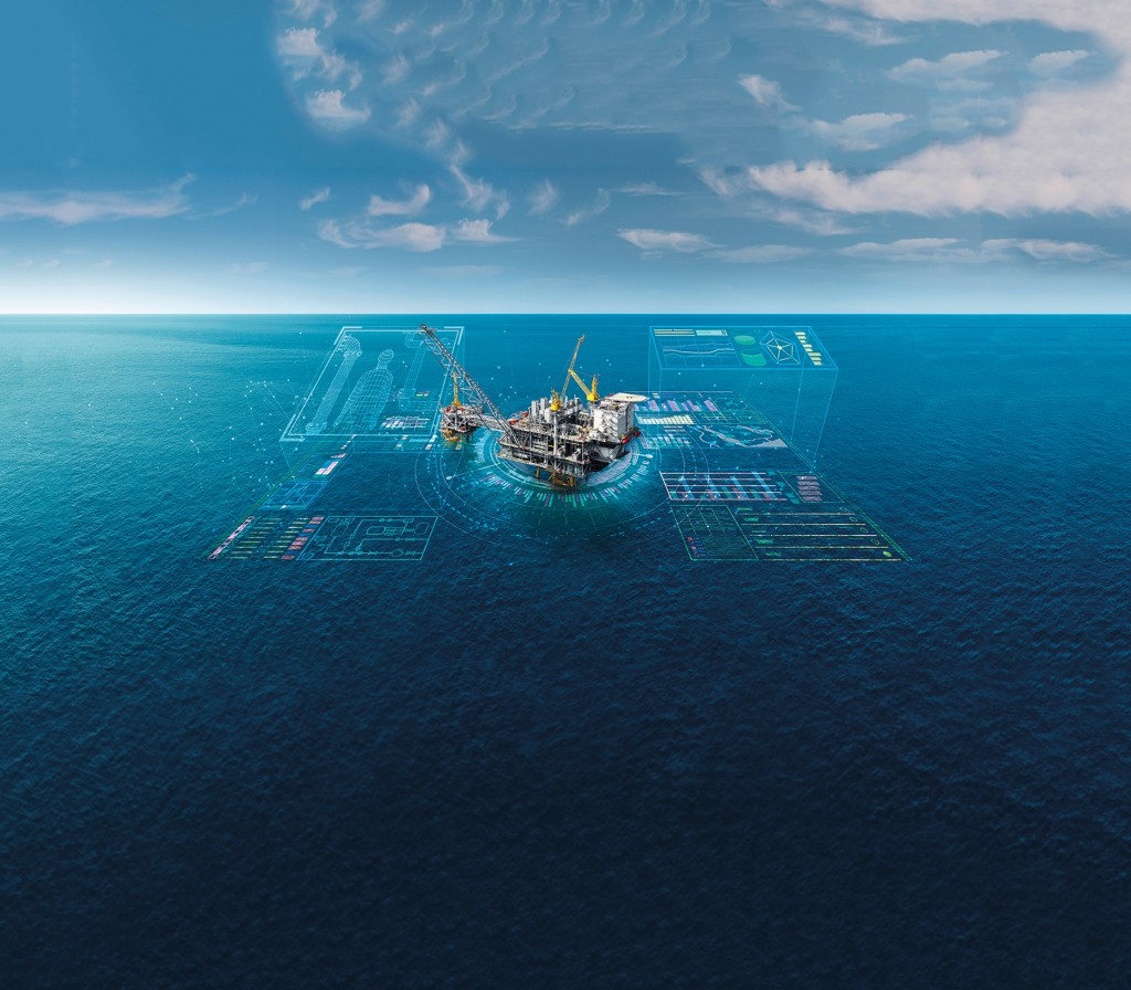 The picture shows the Topsides 4.0 digital lifecycle solution for offshore production.
