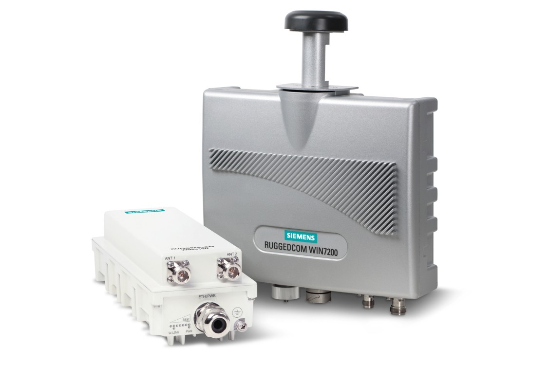 Product shot of RUGGEDCOM WIN base stations for private wireless critical infrastructure