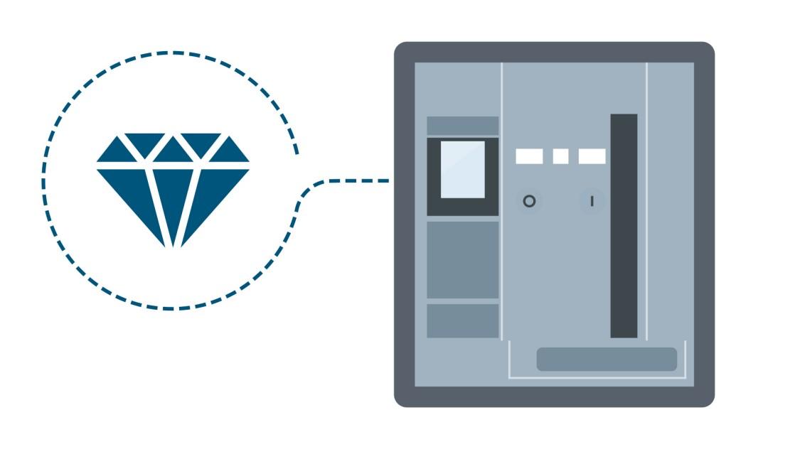 Schematische Darstellung eines offenen Leistungsschalters 3WA mit einem Diamant-Symbol, das für den Einsatz in rauer Umgebung steht