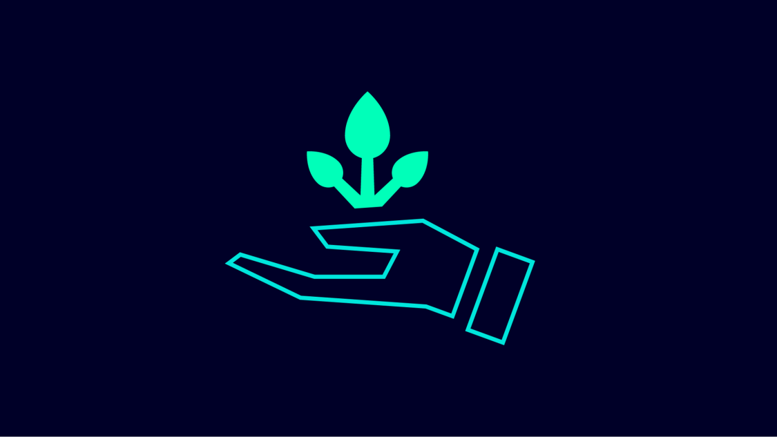 Graphic symbol for sustainability: a hand holding a growing plant.