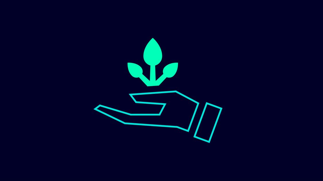 Grafisches Symbol für Nachhaltigkeit: eine Hand die eine sprießende Pflanze hält.