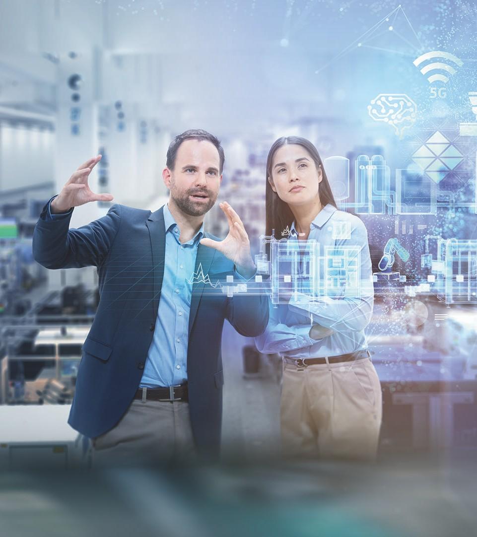 Man and woman imagining digital technology