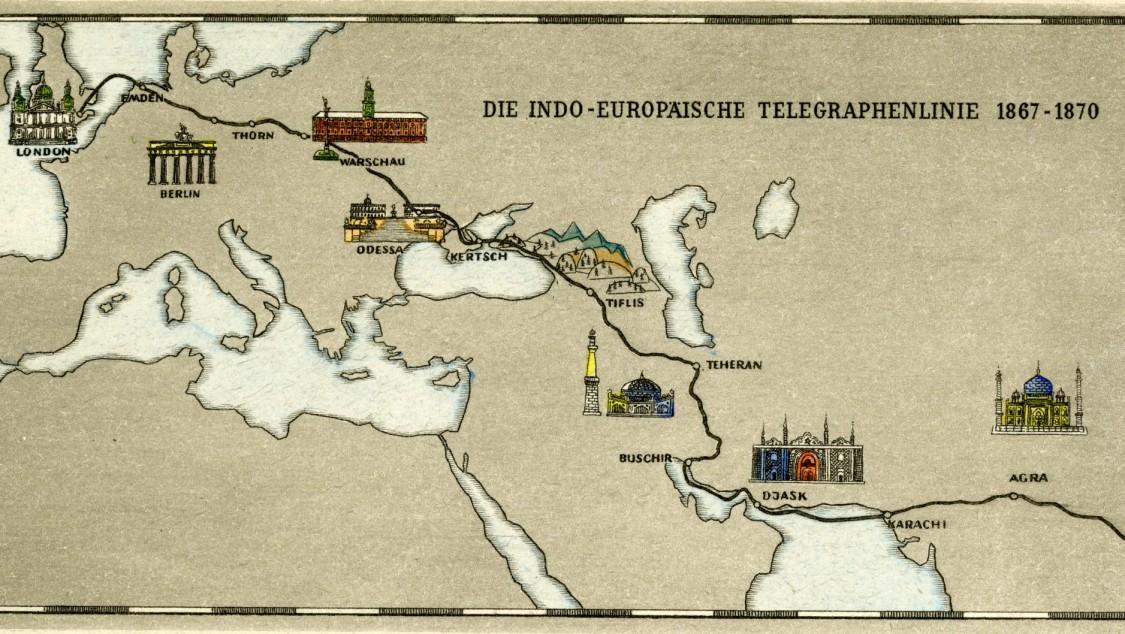 Karte der Indo-Europäischen Telegraphenlinie