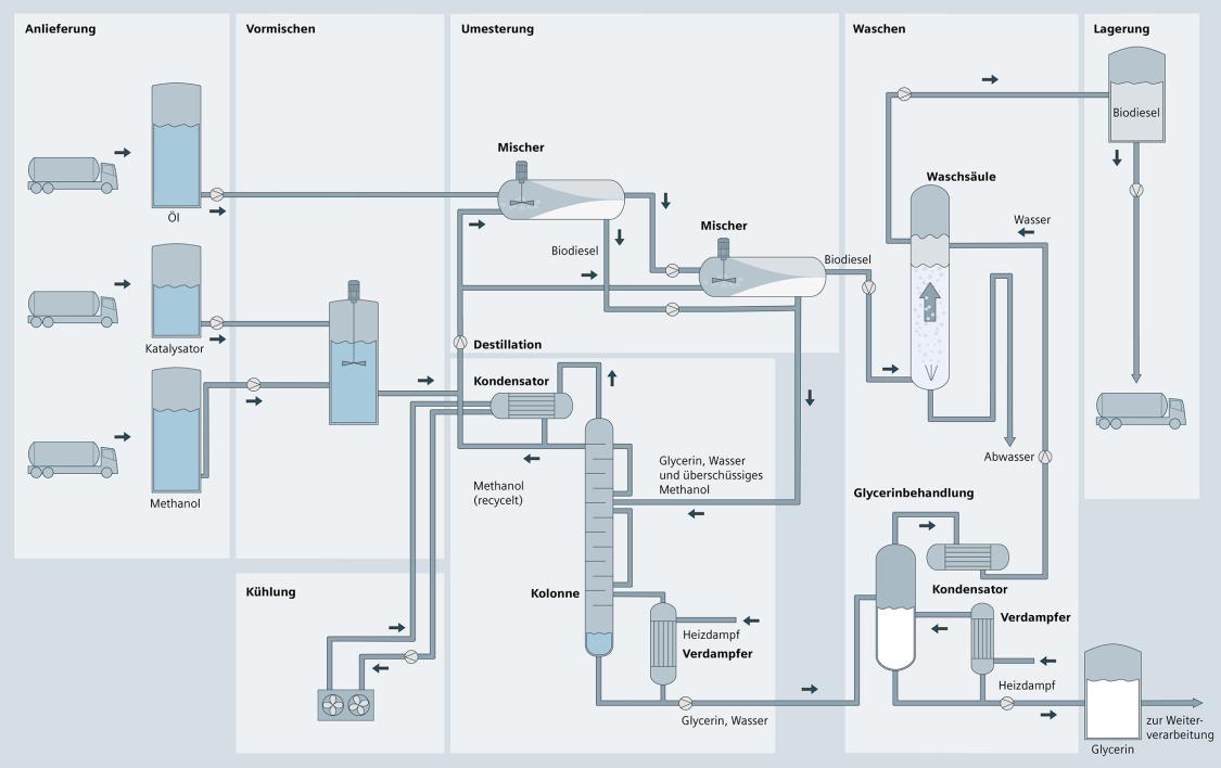 Schematische Darstellung eines biotechnischen Prozesses