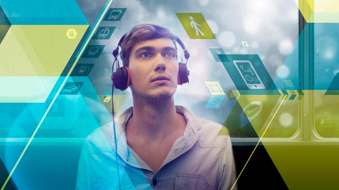 Cover-Bild zum Cyber-Senate-Podcast mit einer Illustration eines Mannes mit Kopfhörern