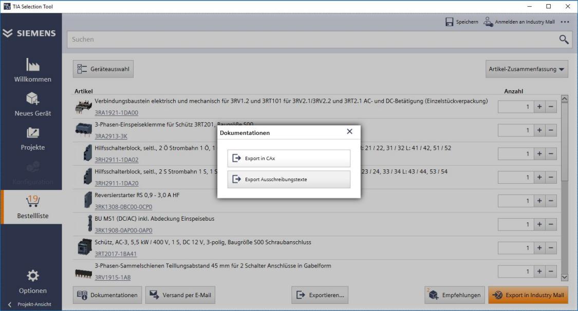 TIA Selection Tool: Export von CAx-Daten