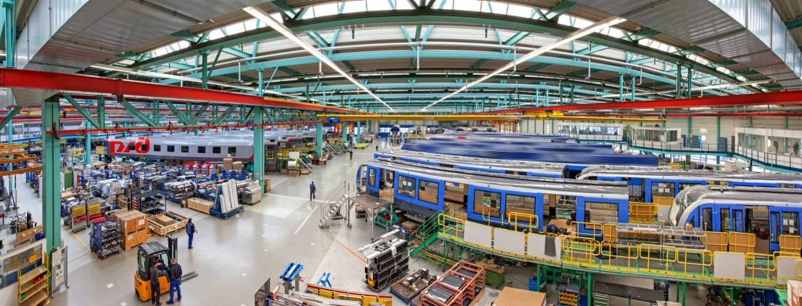 Die Montagehalle im Werk Wien