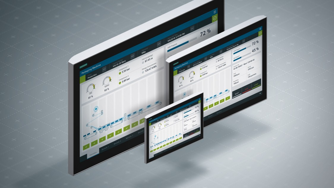 Various screenshots demonstrating that the HMI design can be adapted to all screen sizes.