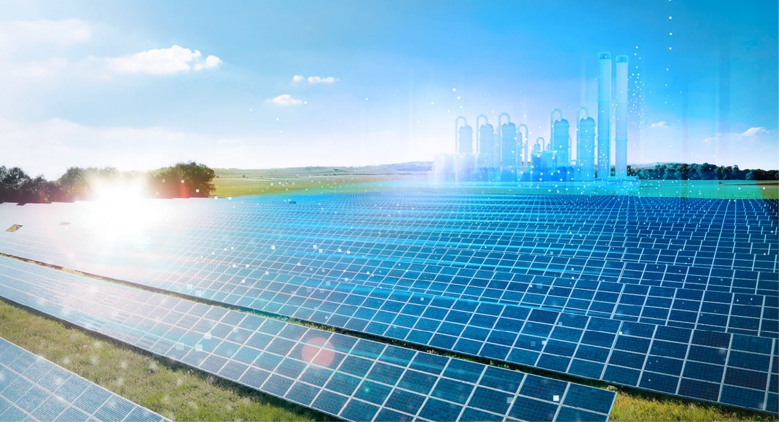 image of a field of solar panels with a digital energy power plant overlay