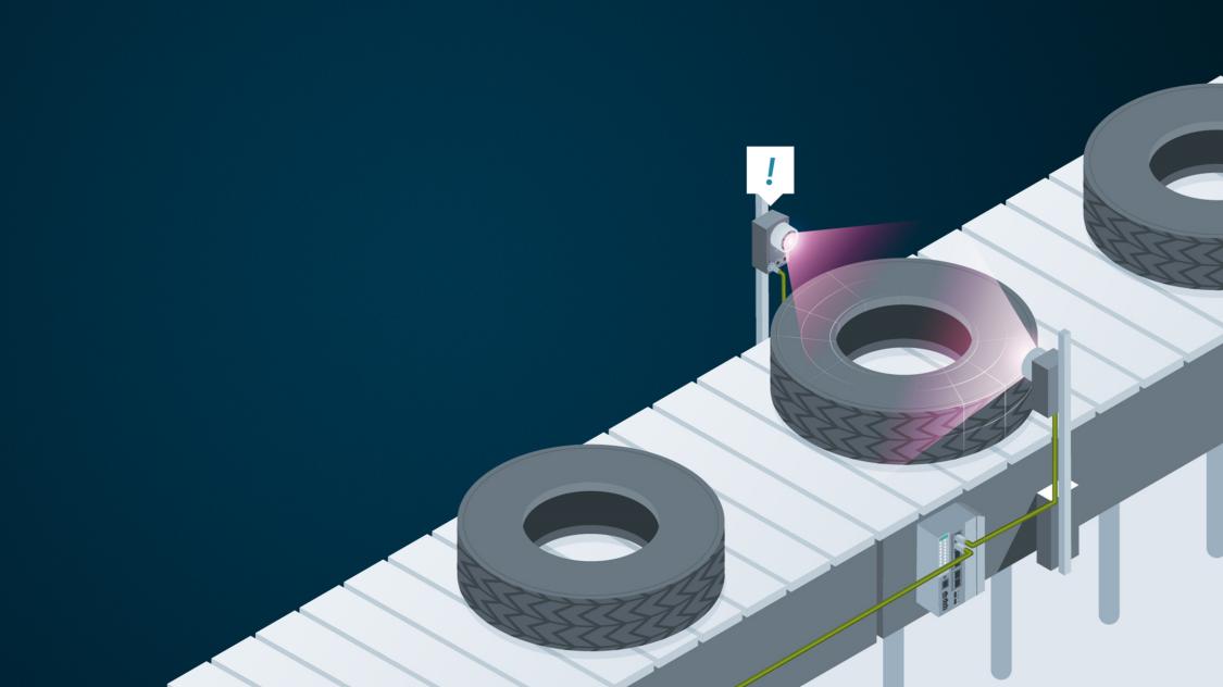 Pneumatiky na výrobním páse řízeném pomocí komunikace systému Power over Ethernet