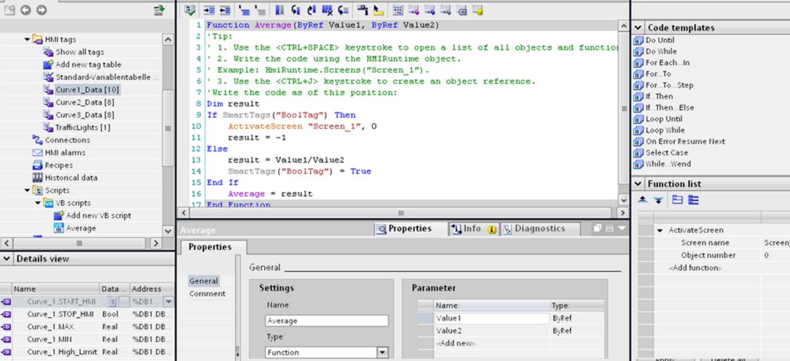 WinCC provides an easy-to-learn script language based on Visual Basic