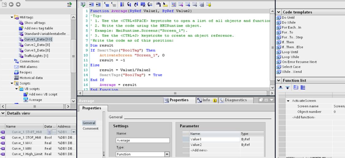 WinCC bietet eine leicht erlernbare Skriptsprache auf Basis von Visual Basic