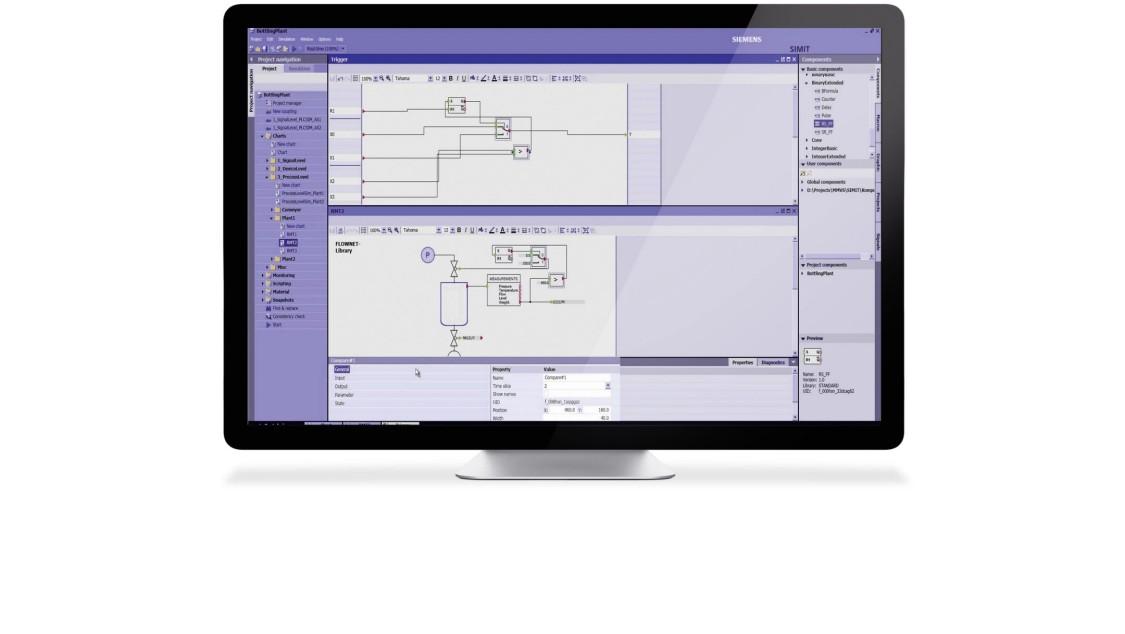 Frontaler Blick auf einen Monitor. Der Bildschirm zeigt einen Screenshot der Simulationssoftware SIMIT.