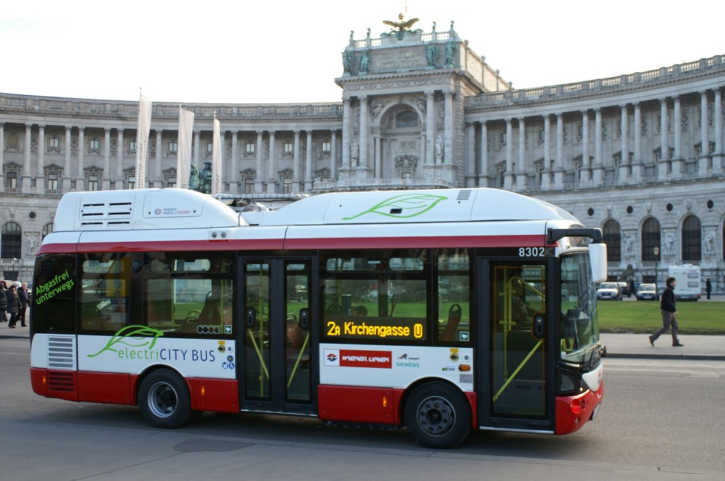 Here the bus can be seen in front of Vienna's Hofburg Palace.