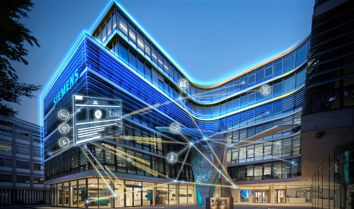 Blue illuminated building with microgrid solution